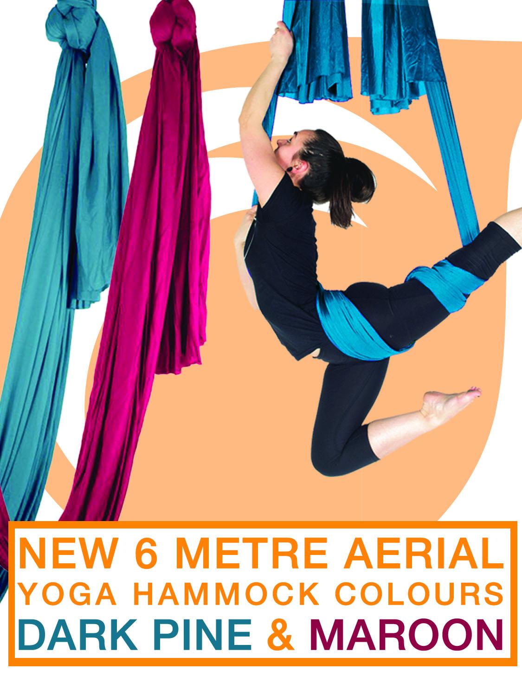New 6m Aerial Yoga Hammock Colours Dark Pine & Maroon