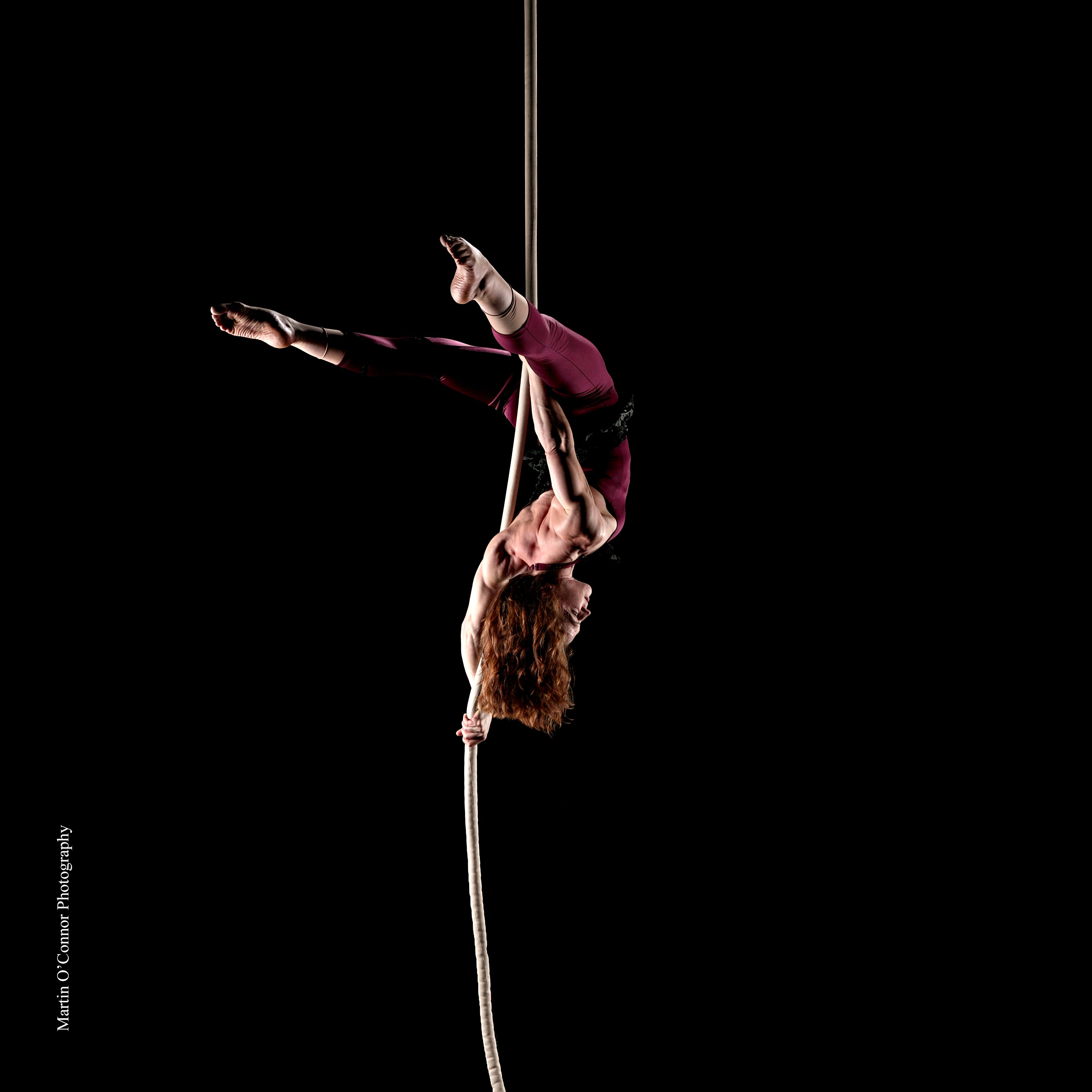 Copyright Molly Graves, Photographer: Martin O'Connor. Second Place in Firetoys Aerial Competition. Aerial Rope aka Corde Lisse